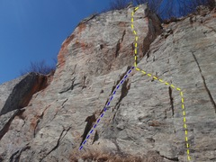 Rock Climbing Photo: Route topo.  Left hand line is an alternative trad...