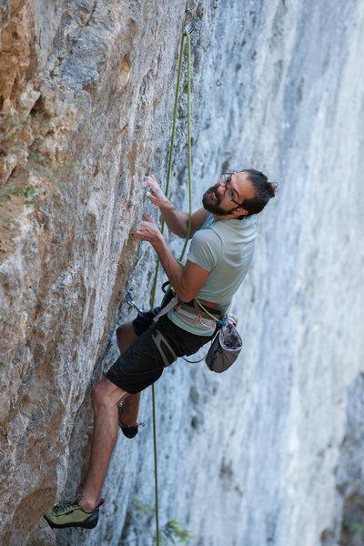 Tony climbing Gold Rush.