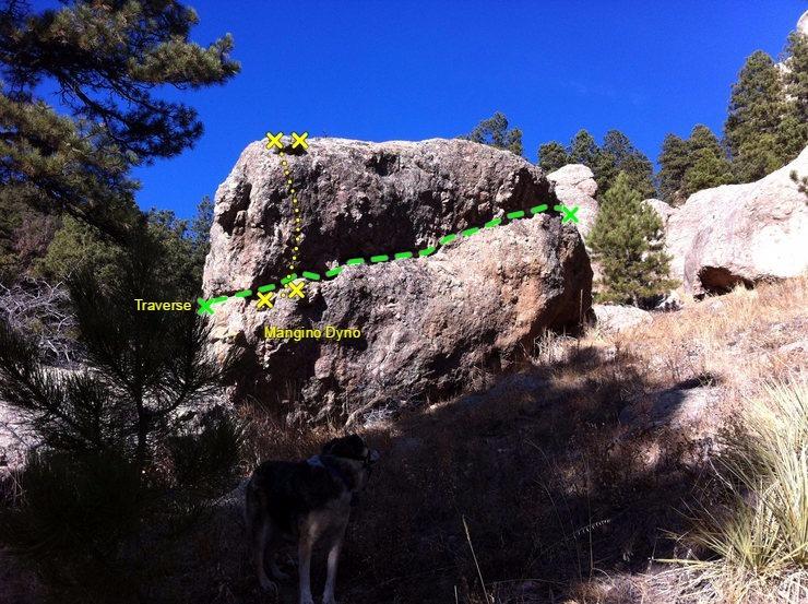 Rock Climbing Photo: Beta for Dingus Boulder.