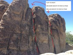 Rock Climbing Photo: One More Mouth To Feed 5.6 Trad (left route in pho...