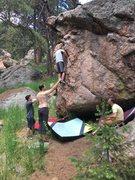 Rock Climbing Photo: Here Morgan climbs the left face.