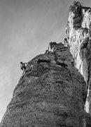 Rock Climbing Photo: Katie heading Pueblo Gringo.