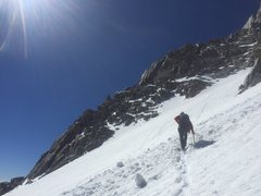 Rock Climbing Photo: Crossing the L-shaped snow field to the start of t...