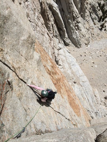 Rock Climbing Photo: Natalie following the excellent P2 of the Red Baro...