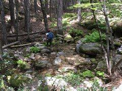 Rock Climbing Photo: First creek crossing. Not shown, a bit of a hike b...