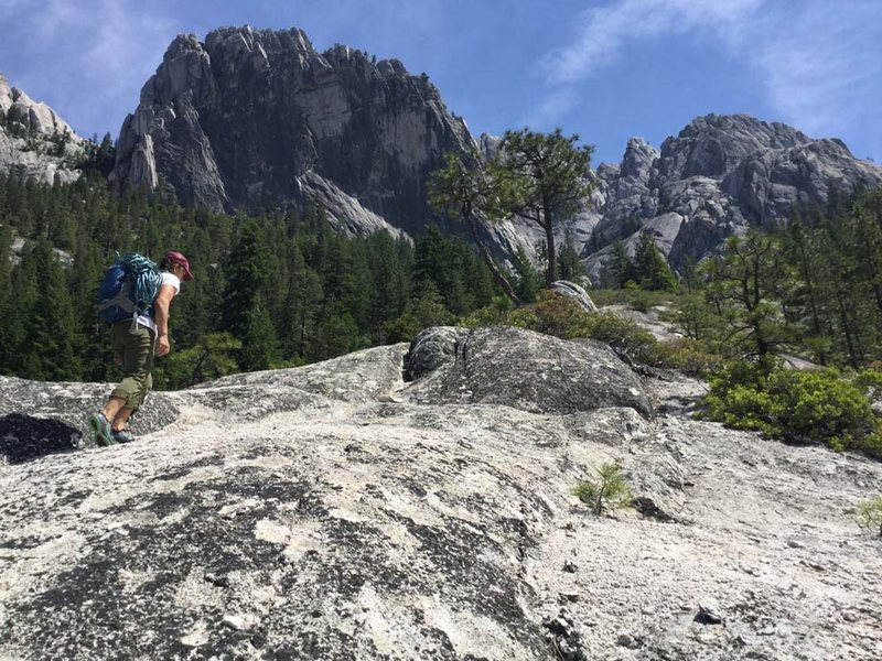 Continue up the center of the open space. The view is spectacular. Beck's Peak is Castle Crag's El Cap. This hike alone is amazing let along climbing at the end.