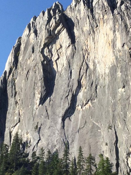 Rock Climbing Photo: Closer up view of Beck's Peak Face. Direct Route g...