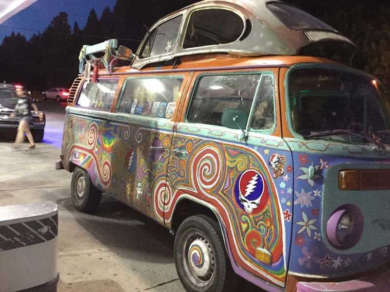 Fun hippie van we saw at the Dunsmuir, CA Chevron after celebrating a day of climbing at Yak's for dinner.