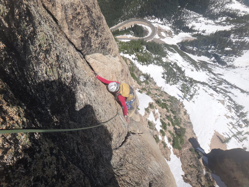 Rock Climbing Photo: Near the top of pitch 6. Just around the corner af...