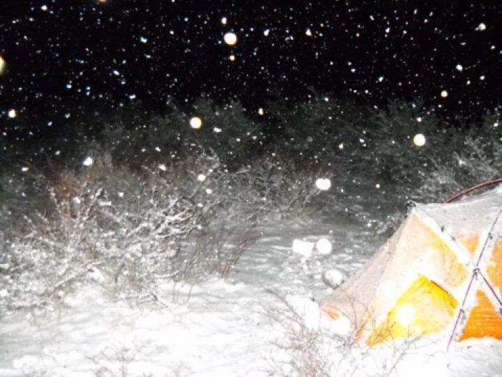 Midnight bivouac snow flurys!!!