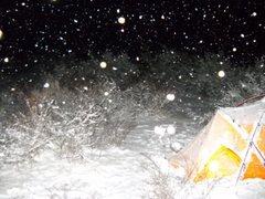 Rock Climbing Photo: Midnight bivouac snow flurys!!!