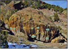 Rock Climbing Photo: Dermal Death Boulder overview:   1. Loma Coma (V2)...