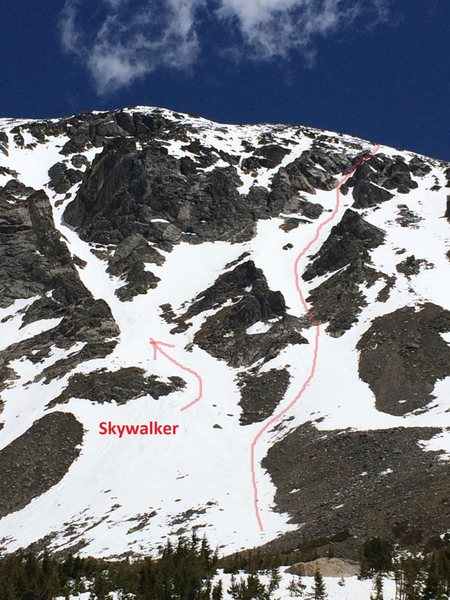 Rock Climbing Photo: Skyclogger is the center route, right of Skywalker...
