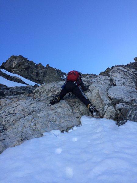 Jason climbing the first rockband.