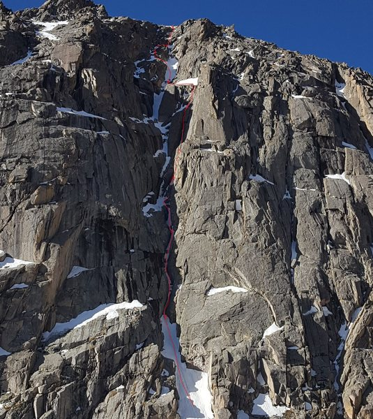This was about 6 pitches although I marked up 9 belays. We moved 1 belay into a better position while we waited for the 2 guys ahead of us. Then towards the top, I wanted to put the rope away but 20&#39; later had to get it back out again.<br> <br> P1: awkward ice chimney with running water. Then 1 or 2 rock steps. <br> P2: steep snow, some rock. <br> P3: narrow ice chute. Bulletproof ice - Should&#39;ve sharpened picks and pons. The last 10-15&#39; was close to 90°.<br> P4: rock and snow. <br> P5: mostly snow, 1 rock step. <br> P6: sketchiest of the day. Rock step with a tiny amount of ice, running water.
