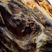 Rock Climbing Photo: Stem the first scoop to clip but both feet on righ...