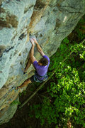 Zachary Lesch-Huie of the Access Fund enjoying How Do You Spell Breaks, 5.10a
