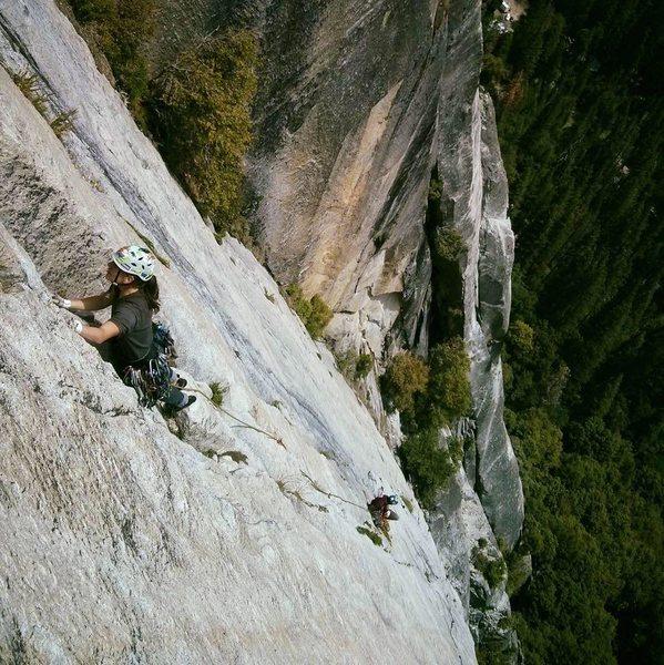 Super Slide 5.9 Royal Arches area. Yosemite Valley