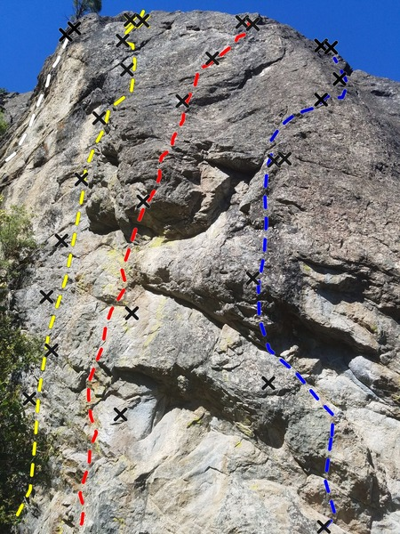 West side routes. White line is Southpaw- 5.9. Yellow line is Jasmine- 10b. Red line is Soul Gravy- 10c. Blue line is Heart and Soul- 11c.