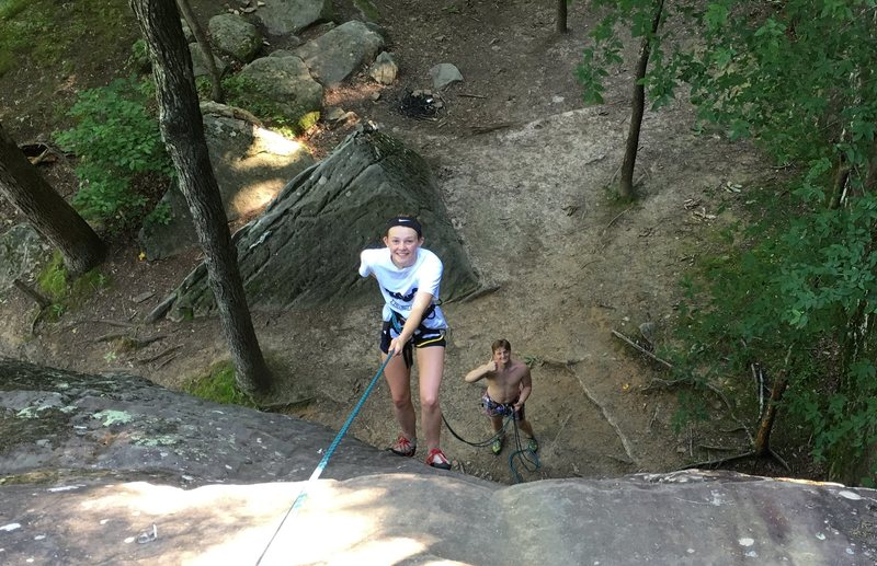 A great climb to rap down. Fun climb with TR .  Beats hiking in. ( Grace T rapping in). Mick S on backup belay.