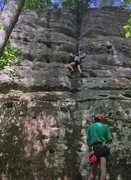 Rock Climbing Photo: Grace T doing the vow. She camped out on that spot...