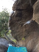 Rock Climbing Photo: Final Round, sit start holds in yellow circles