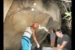 Rock Climbing Photo: Das Crew & freakn lazer beams!!!