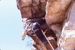 Rock Climbing Photo: The Totem roof.  Photo by Scott McCook 1983