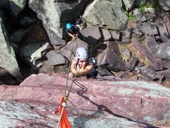 Rock Climbing Photo: coming up Last Gasp at Devils Lake this spring.