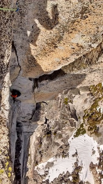 Offwidth crux section on the final pitch.