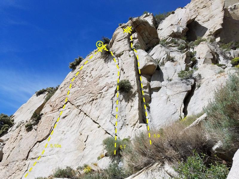 Rock Climbing Photo: Showing Cool Hand Luke, No-Width, and Pine Climb f...