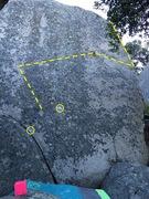 Rock Climbing Photo: Golden Rule, start at yellow circles