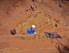 Rock Climbing Photo: Jeff Pheasant coming up to the belay at the end of...