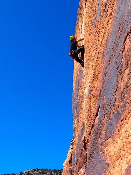 Rock Climbing Photo: Indian Creek, Hand Solo, Selfish Wall