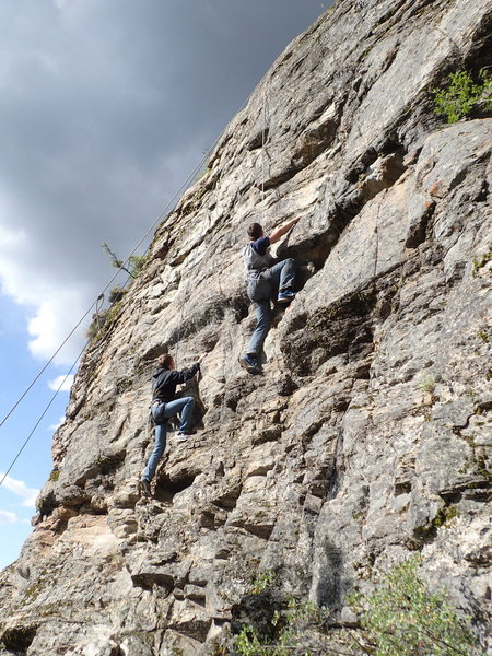 """Tonasket Boy Scouts tandem climbing on """"Guys and Dolls"""" and """"Barbies are Buddhas Too"""""""