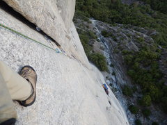 Rock Climbing Photo: looking down p4 at the portaledge