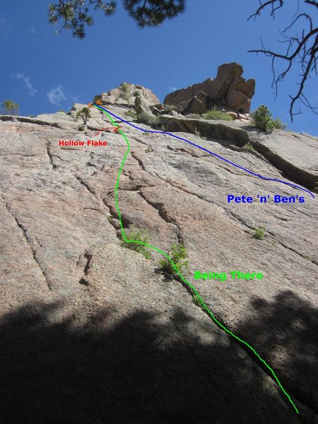 Rock Climbing Photo: Topo of 'B'ing There', and partial of ...