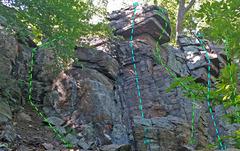 Rock Climbing Photo: Check Book wall - Far Left: aQ. EE Bond aR. Straig...