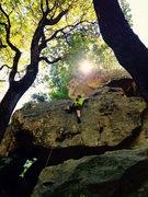 Rock Climbing Photo: Climbing into the sun.