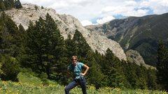 Rock Climbing Photo: Sarah, with Honey Bee Ridge behind her.