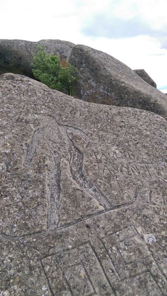 Rock Climbing Photo: This place is loaded with carvings in the rock, mo...