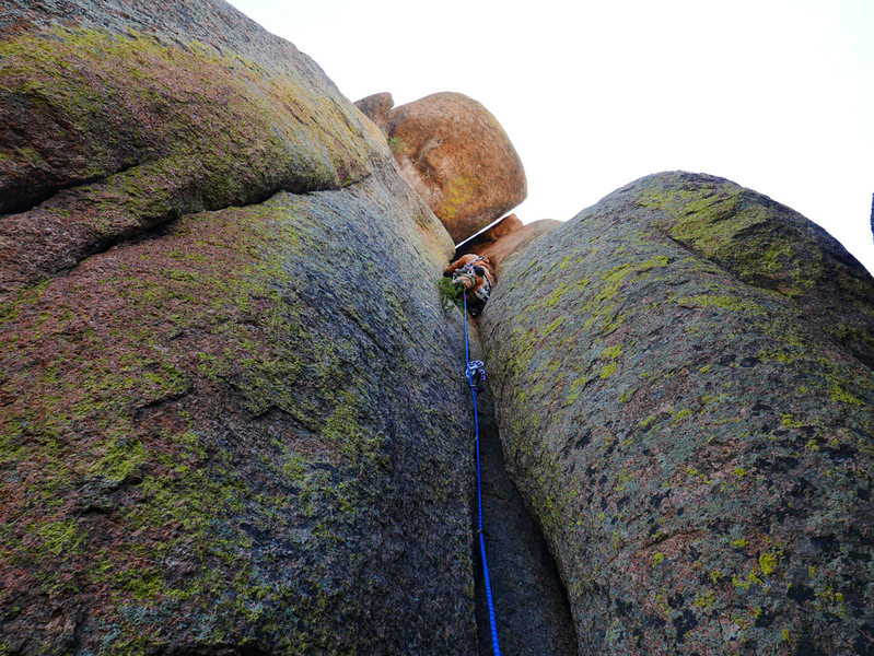 Climber at the end of the crux section.