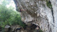 Rock Climbing Photo: Making the crux throw