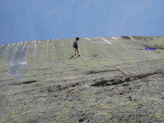 "Rock Climbing Photo: 1)  S. Matz raps the ""headwall"" pitch (P..."