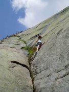 Rock Climbing Photo: 2) S. Matz on the first move of P1