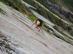 Rock Climbing Photo: 6)  Ed leading the original P3