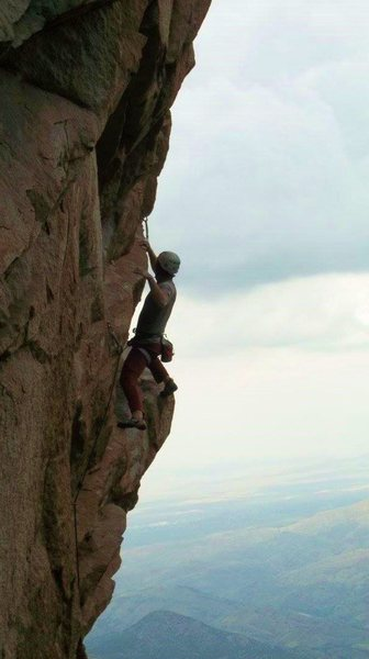 Rock Climbing Photo: In the midst of the traverse.  Photo by Abby Stock...