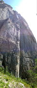 Rock Climbing Photo: The climb is right of the middle crack with the wh...