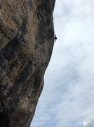 Rock Climbing Photo: Andy Cutler nearing the top of Carte Blanche on hi...