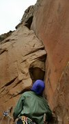 Rock Climbing Photo: The desperate layback start of pitch 2